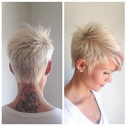 Short Platinum Blonde Boy Cut With Side Swept Bangs For Women Within Platinum Blonde Short Hairstyles (View 15 of 20)