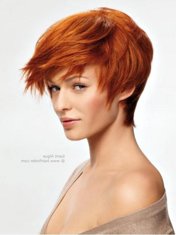 Short Red Hair With A Fringe Along The Nape And Nearly Covering In Short Hairstyles Covering Ears (View 15 of 20)