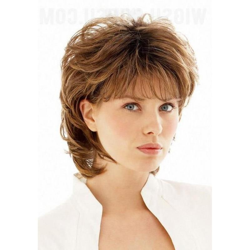 Short Shaggy Curly Wispy Bang Haircut Synthetic Hair Capless Wig With Short Haircuts With Wispy Bangs (View 17 of 20)