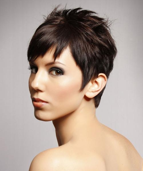 Short Straight Casual Hairstyle (Chocolate) Throughout Razor Cut Short Hairstyles (View 18 of 20)