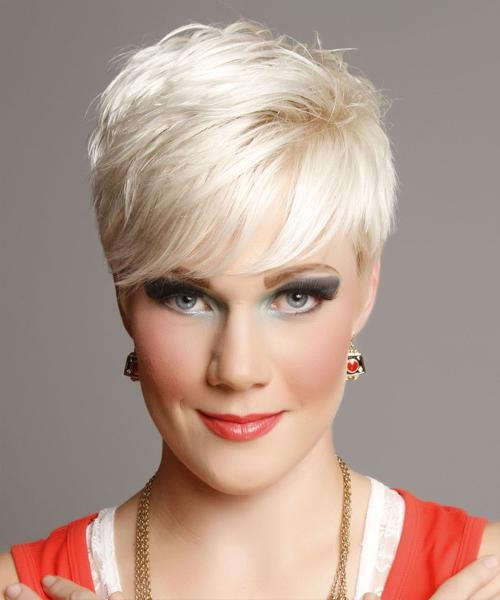Short Straight Casual Hairstyle With Side Swept Bangs – Light Throughout Platinum Blonde Short Hairstyles (View 11 of 20)