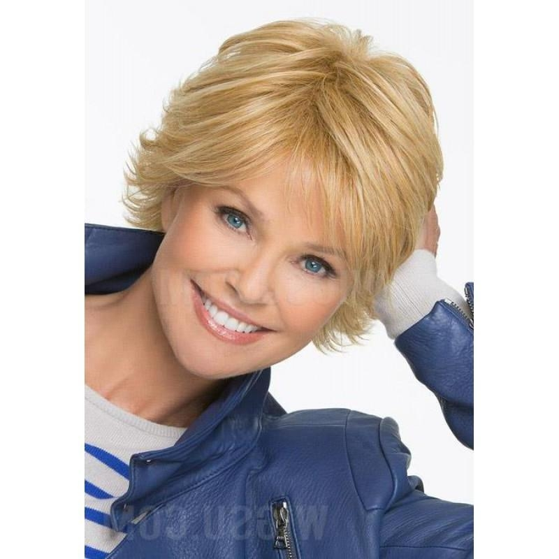 Short Straight Layered Feathery Wispy Bang Haircut Synthetic Hair Pertaining To Short Hairstyles With Wispy Bangs (View 20 of 20)