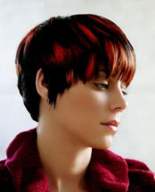 Super Short Hairstyles With Red Highlights – Cool & Trendy Short Intended For Short Hairstyles With Red Highlights (View 19 of 20)
