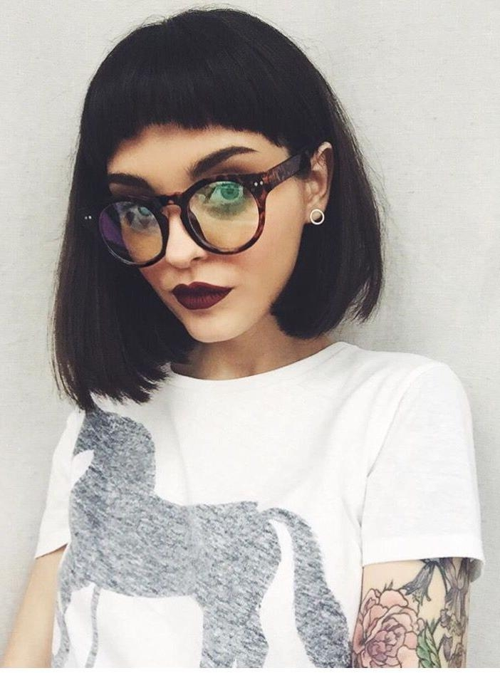 Top 30 Hairstyles With Bangs And Glasses, The Perfect Combination With Short Haircuts With Bangs And Glasses (View 20 of 20)