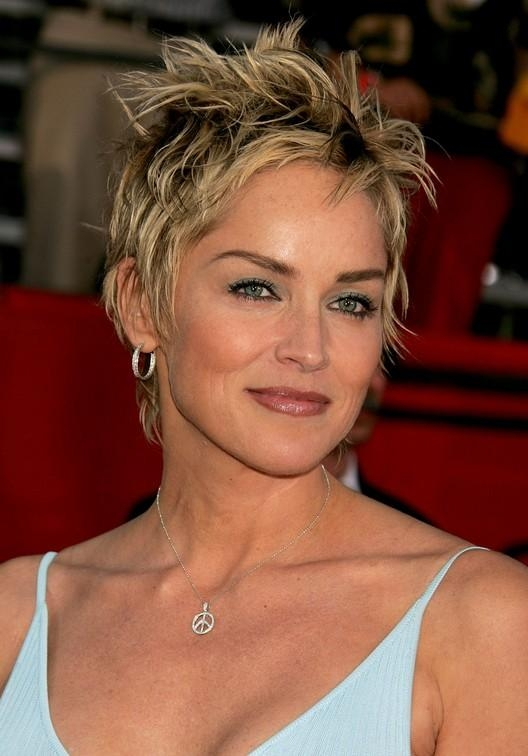 Trendy Tousled Short Punky Pixie Cut For Women: Sharon Stone Within Tousled Short Hairstyles (View 15 of 20)
