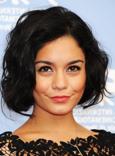 Vanessa Hudgens Short Hairstyles: Wavy Bob Haircut – Popular Haircuts With Regard To Vanessa Hudgens Short Haircuts (View 11 of 20)