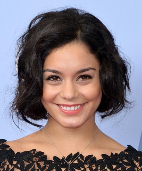 Vanessa Hudgens Short Wavy Casual Bob Hairstyle – Dark Brunette With Regard To Vanessa Hudgens Short Hairstyles (View 17 of 20)