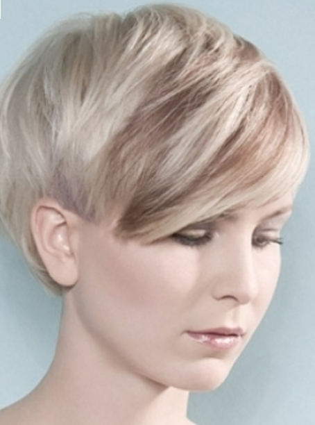 Women Very Short Hairstyle With Long Bangs With Highlights Ice For Very Short Haircuts With Long Bangs (View 4 of 20)
