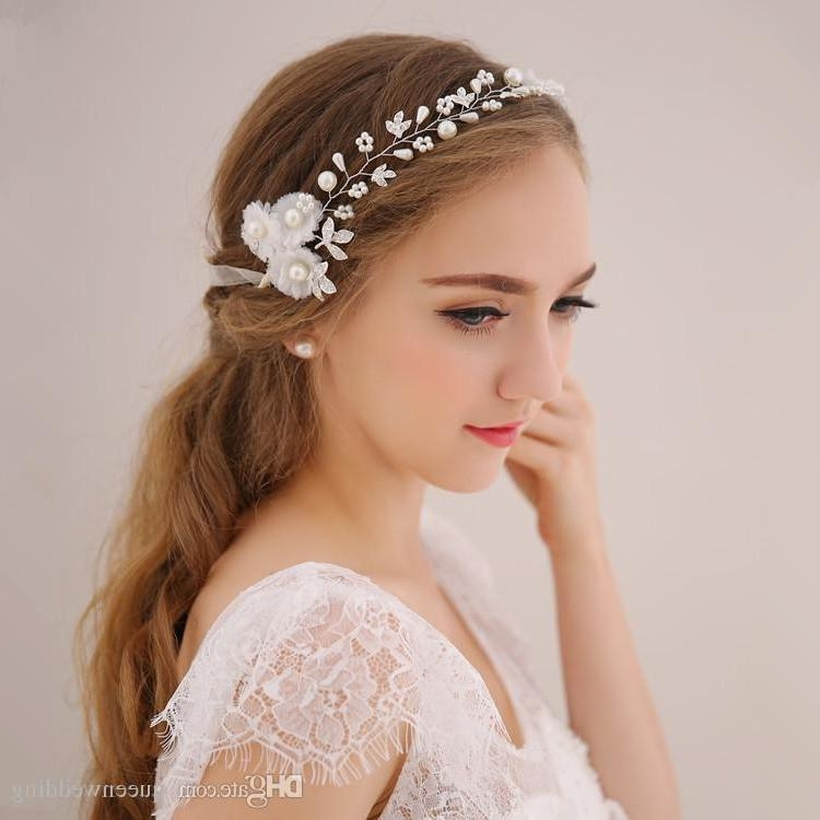 2016 Korean White Flower Soft Chain Headdress Sweet Pearl Hair For Korean Hairstyles For Wedding (View 14 of 20)