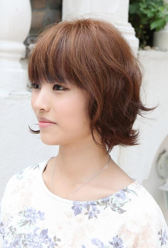 Asian Hairstyles: Soft & Casual Wavy Brown Bob Haircut Pertaining To Asian Hairstyles With Short Bangs (View 11 of 20)