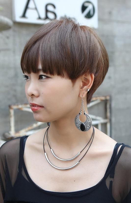 Boyish Short Haircut With Blunt Bangs – Asian Hairstyles 2013 Within Asian Hairstyles With Short Bangs (View 14 of 20)