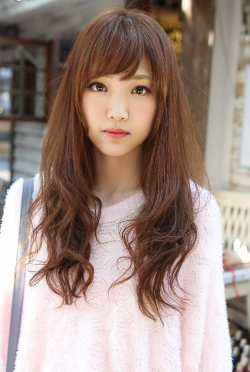 Cute Hairstyles With Bangs Side Bangs With Long Hairstyle 2014 Inside Asian Hairstyles With Side Bangs (View 12 of 20)