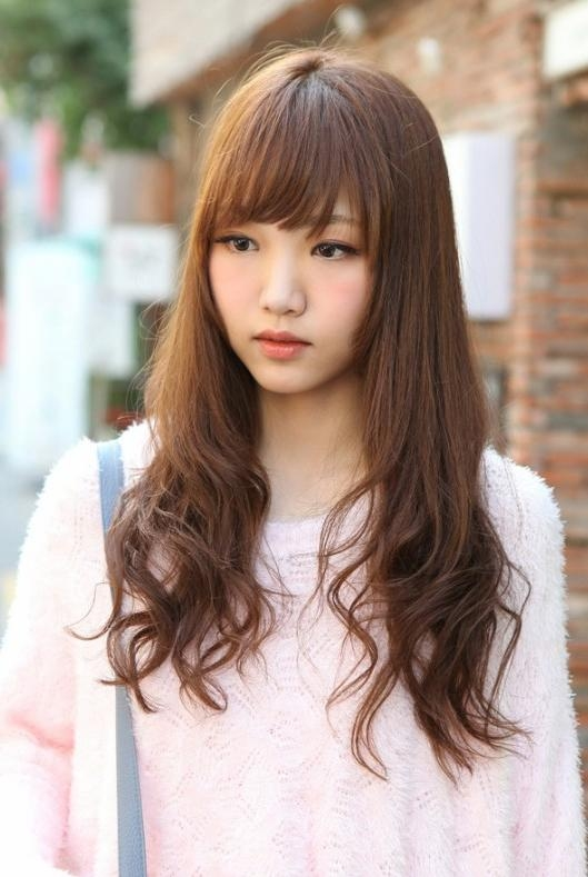 Cute Korean Hairstyle For Long Hair – Hairstyles Weekly Within Cute Asian Haircuts With Bangs (View 13 of 20)