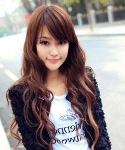 Korean See Through Bangs For Round Face – Google Search | Hair Regarding Pretty Asian Hairstyles (Gallery 6 of 20)