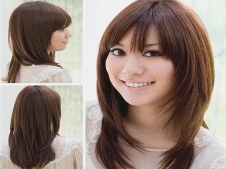 Layered Hairstyle With Side Bangs Korean Long Asian Hairstyles For Long Asian Hairstyles With Bangs (View 13 of 20)
