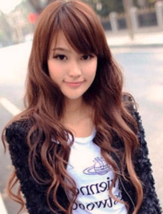 Popular Long Asian Women Hairstyles With Long Curly Hair With Within Long Asian Hairstyles With Bangs (View 17 of 20)
