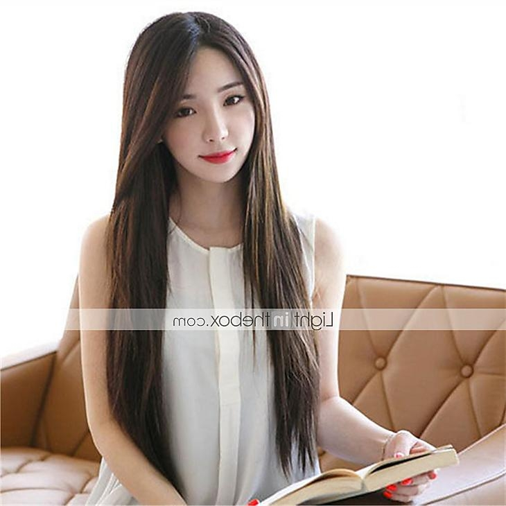 Synthetic Women Wig Korean Style Straight Heat Resistant Hair Wig With Regard To Straight Korean Hairstyles (View 19 of 20)