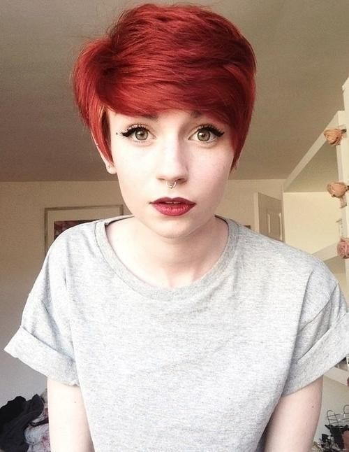 2017 Cute Hairstyles Women Messy Cute Red Pixie Haircut Girls Regarding 2017 Pixie Haircuts For Girls (View 1 of 20)