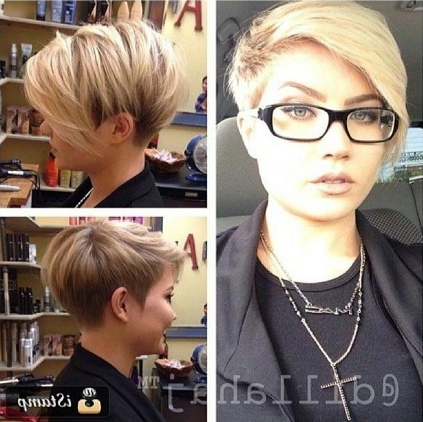 26 Simple Hairstyles For Short Hair: Women Short Haircut Ideas 2017 For Trendy Pixie Haircuts With Glasses (View 14 of 20)