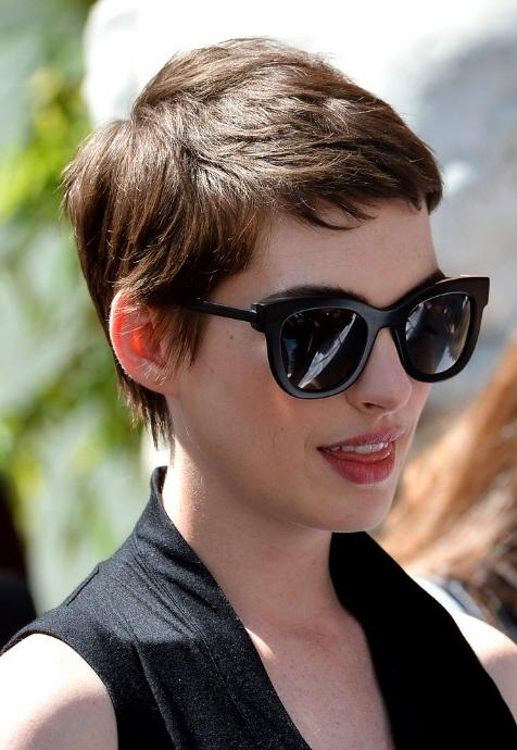 Anne Hathaway Trendy Short Pixie Haircut – Boyish Short Haircut With Most Popular Short Bangs Pixie Haircuts (View 2 of 20)