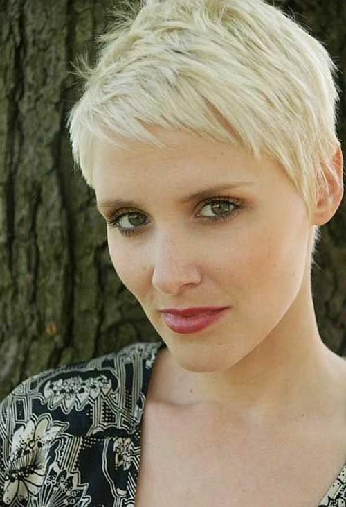 Blonde Short Hair Within Fashionable Blonde Pixie Haircuts (View 8 of 20)