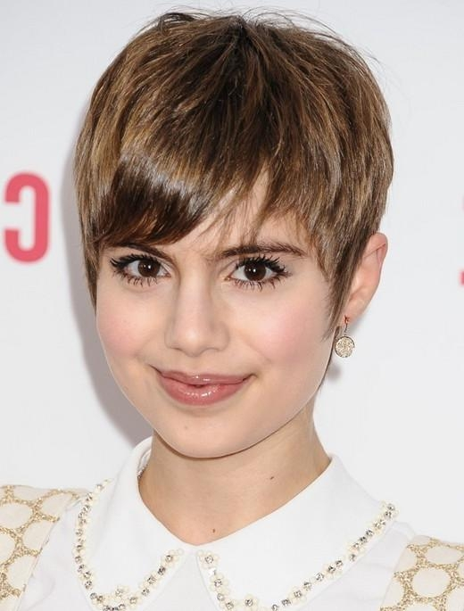 Celebrity Short Hairstyles For 2014: Cute Short Pixie Cut With In Best And Newest Cute Pixie Haircuts With Bangs (View 5 of 20)