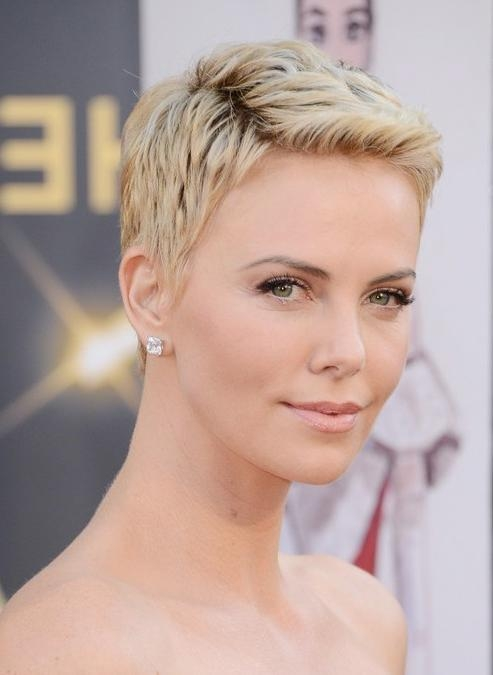 Charlize Theron Short Pixie Haircut – Popular Short Hairstyles For Inside 2018 Short Pixie Haircuts (View 7 of 20)