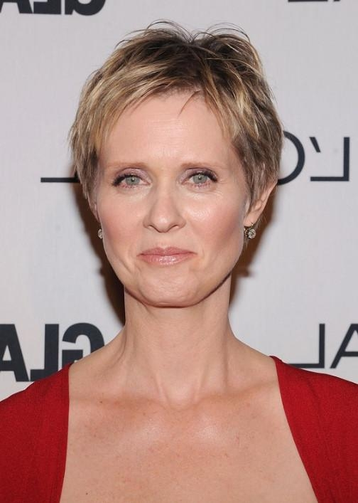 Cynthia Nixon Layered Short Pixie Cut – Short Hairstyles For Older In Most Up To Date Short Pixie Haircuts For Older Women (View 5 of 20)