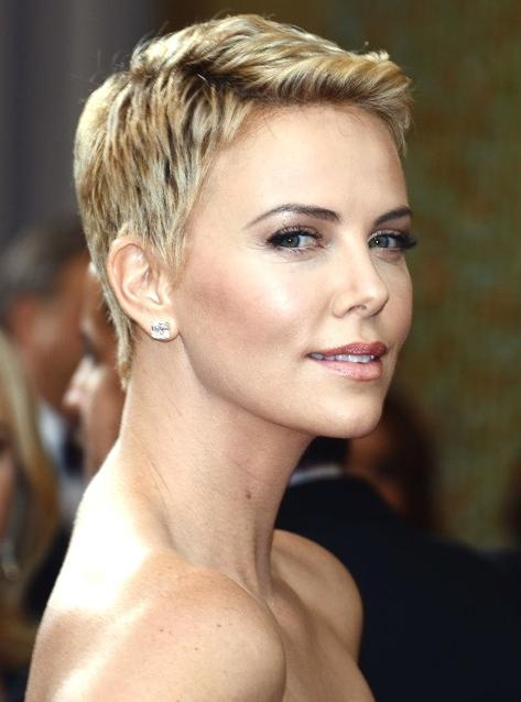 Famous Very Short Textured Pixie Haircuts Intended For Charlize Theron Hairstyles – Hairstyle For Women (View 3 of 20)