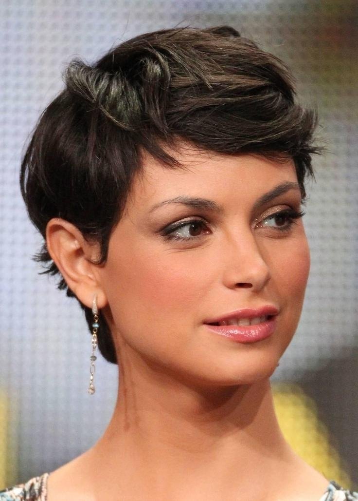 Morena Baccarin: Curly Wavy Messy Brunette Pixie Hair – Pretty Designs For Best And Newest Brunette Pixie Haircuts (View 14 of 20)