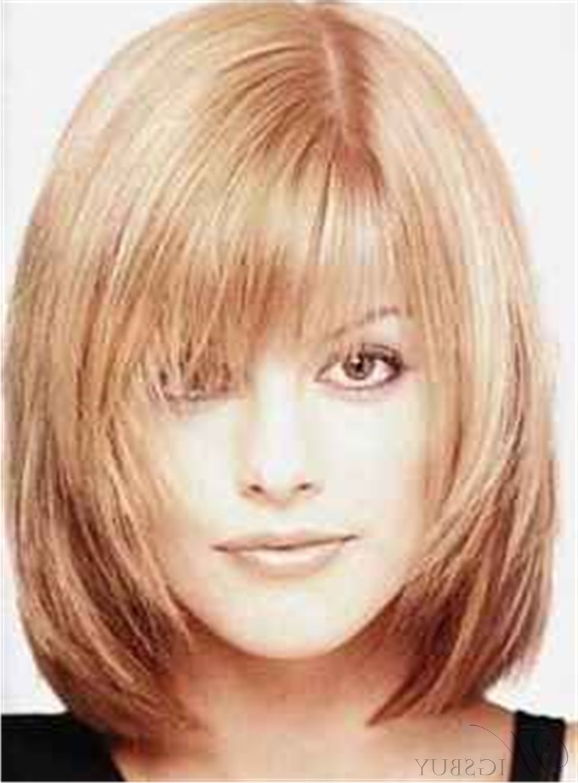 Most Current Shaggy Bob Cut Hairstyles Intended For Shaggy Bob Medium Straight Synthetic Hair With Bangs Capless Wigs (View 8 of 15)