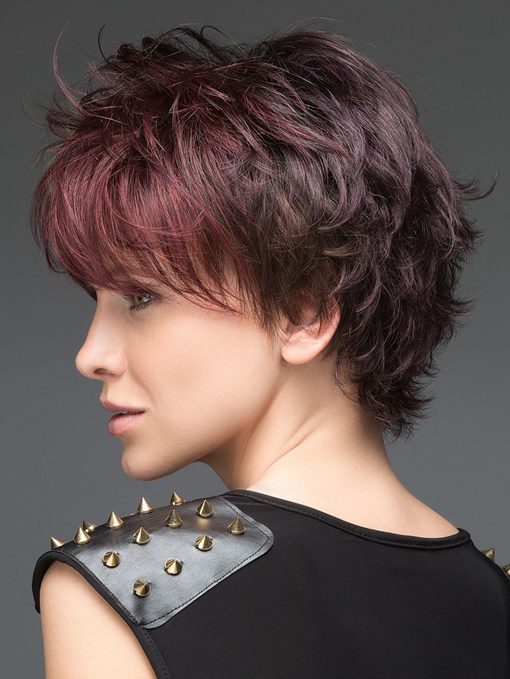 Most Current Short Shaggy Hairstyles For Curly Hair Intended For Hot Aubergine Mix (View 7 of 15)