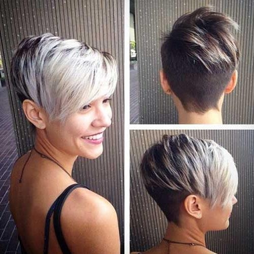 Most Recent Asymmetrical Pixie Haircuts In Asymmetrical Short Silver Pixie Haircut Pictures, Photos, And (View 7 of 20)