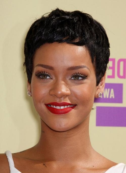 Most Up To Date Rihanna Pixie Haircuts Pertaining To Rihanna Latest Short Pixie Haircut: Cool Boy Cut For Women (View 8 of 20)