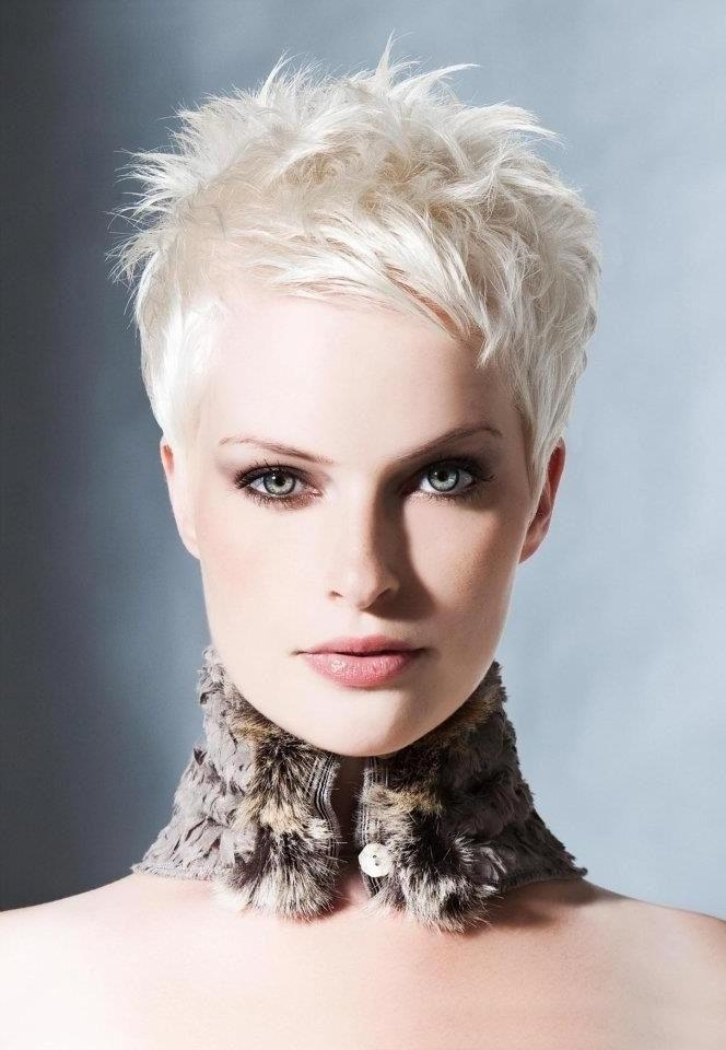 Pixie Cut White Hair: Messy Spikey Hair – Popular Haircuts In Well Known Short Spiky Pixie Haircuts (View 11 of 20)