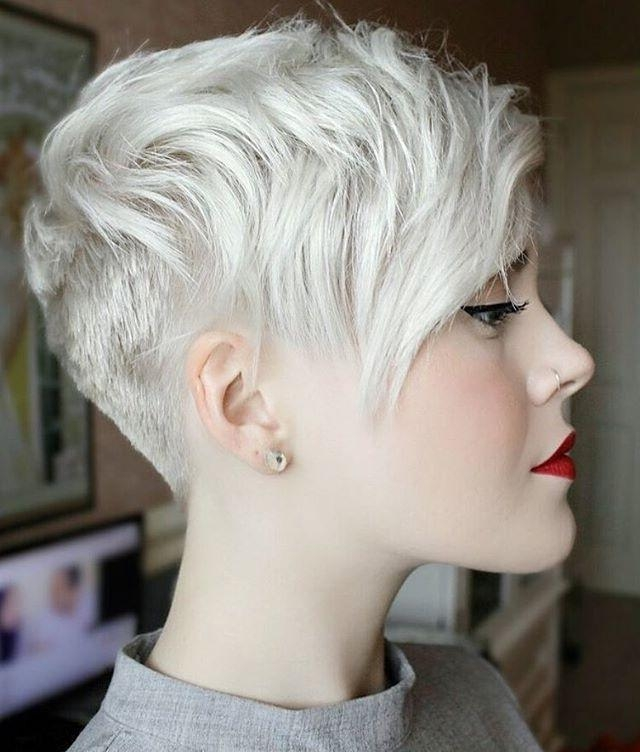 Platinum Blonde Pixie Throughout Well Known Platinum Pixie Haircuts (View 16 of 20)