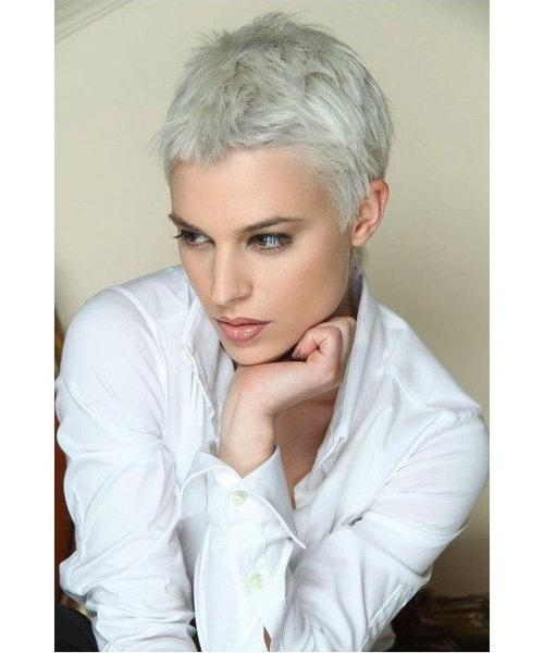 Platinum Blonde Short Pixie Haircuts (View 7 of 20)