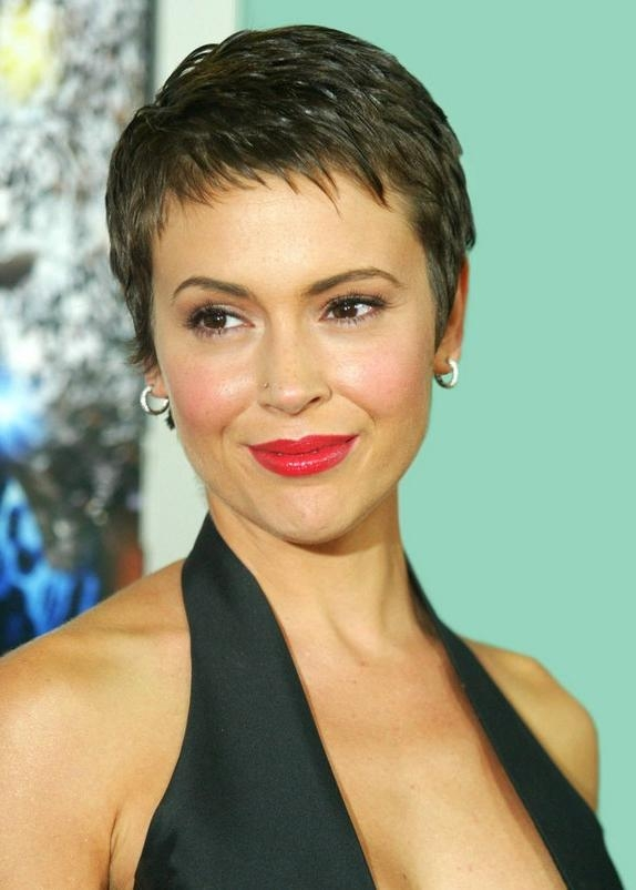 Pretty Pixie Cut With Edgy, Piecey Fringe – Alyssa Milano Short Pertaining To Widely Used Short Bangs Pixie Haircuts (View 5 of 20)