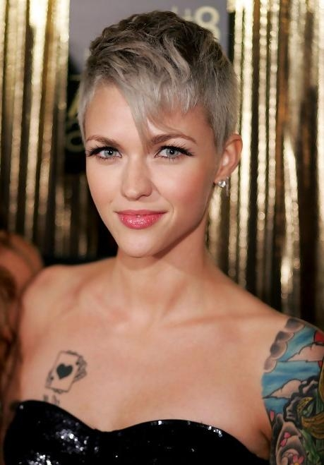 Recent Short Bangs Pixie Haircuts Pertaining To Short Gray Pixie Haircut With Long Bangs – Ruby Rose Hairstyles (View 15 of 20)