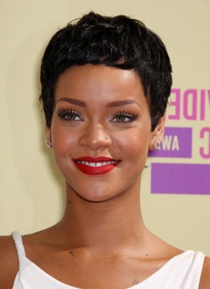 Rihanna, Black Pixie Haircuts For Short Hair – Popular Haircuts Regarding Well Liked Short Pixie Haircuts For Black Hair (View 15 of 20)