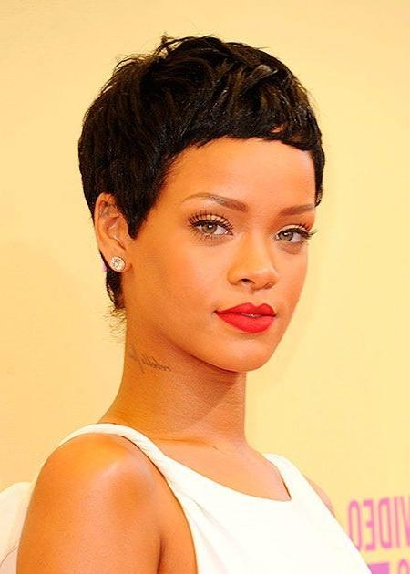Rihanna Short Haircut: Ultra Short Black Curly Pixie Cut – Pretty Regarding Best And Newest Rihanna Pixie Haircuts (View 14 of 20)