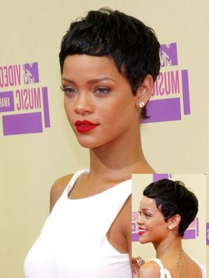 Rihanna With Short Hair Intended For Popular Rihanna Pixie Haircuts (View 15 of 20)