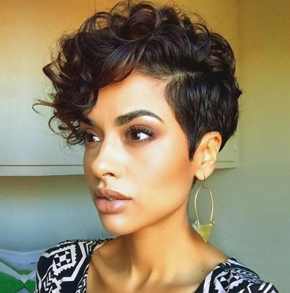 Short Curly Hair Style – Curls Pixie Haircut – Popular Haircuts Intended For Current Pixie Haircuts For Wavy Hair (View 13 of 20)