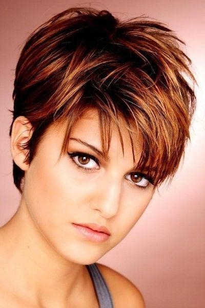 Short Hair Highlights With Caramel Color For Latest Pixie Haircuts With Highlights (View 18 of 20)