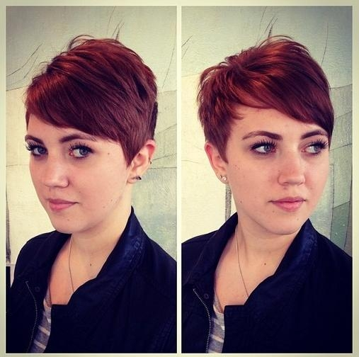 Short Layered Red Pixie Cut With Side Swept Bangs – Hairstyles Weekly For Famous Short Red Pixie Haircuts (View 14 of 20)