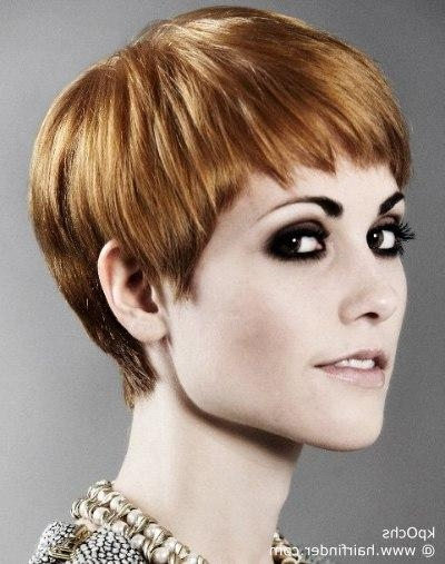Short Pixie Haircut With A Short Fringe And Lovely Cutting Line In Trendy Line Pixie Haircuts (View 17 of 20)