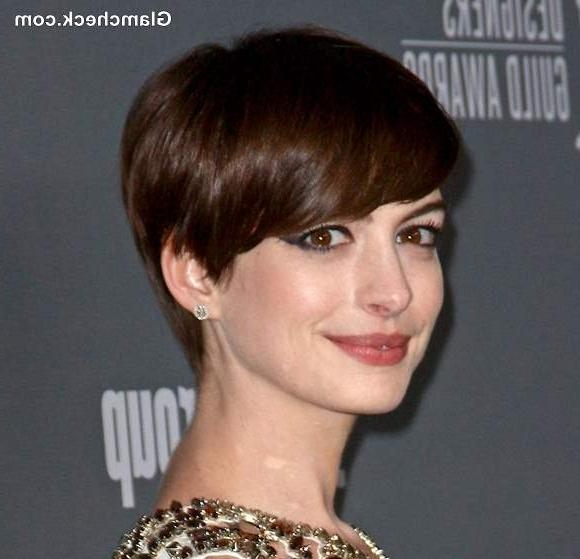 Short Pixie Hairstyles – Anne Hathaway For Well Known Fringe Pixie Haircuts (View 16 of 20)
