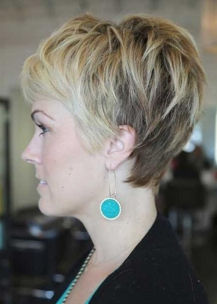 Side View Of Layered Pixie Cut: Cute Pixie Haircut With Bangs Inside Most Recently Released Textured Pixie Haircuts (View 19 of 20)