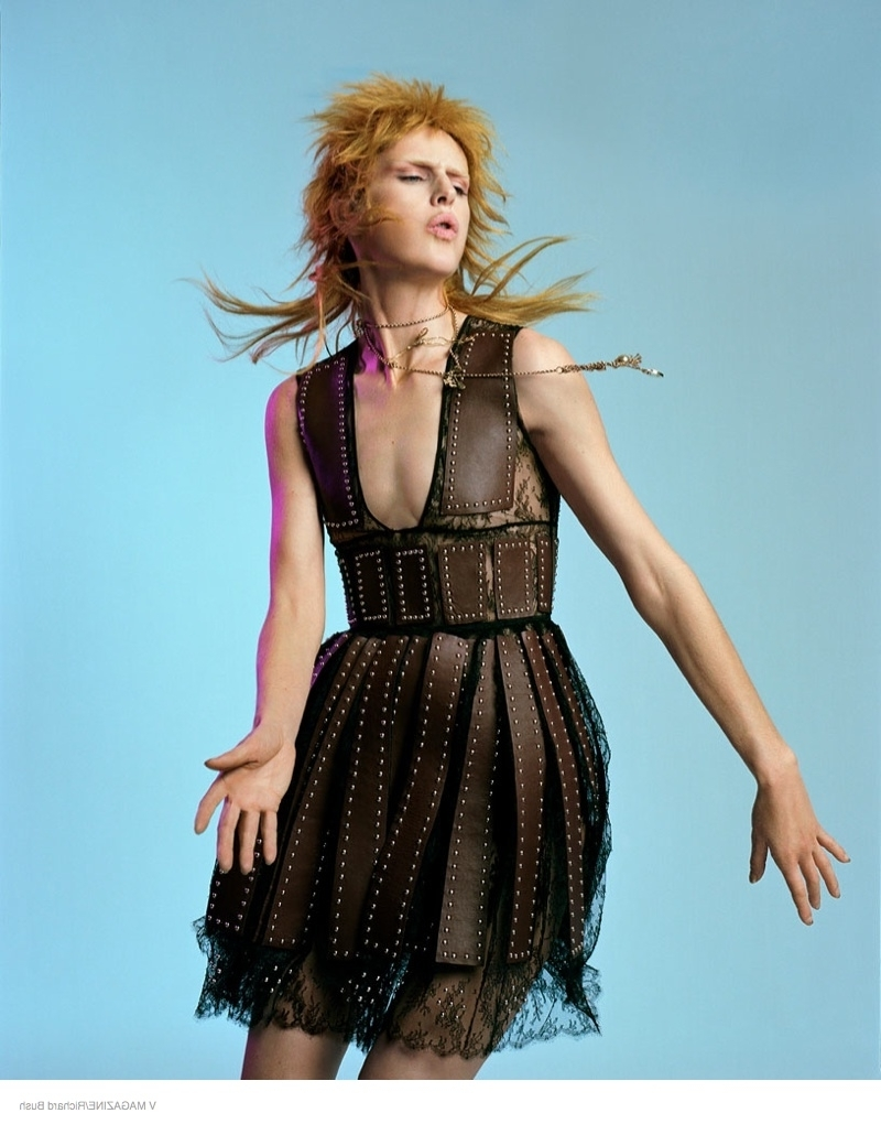 Stella Tennant Models Glam Rock Fashion Looks For V Magazine Intended For Widely Used Shaggy Rocker Hairstyles (View 9 of 15)