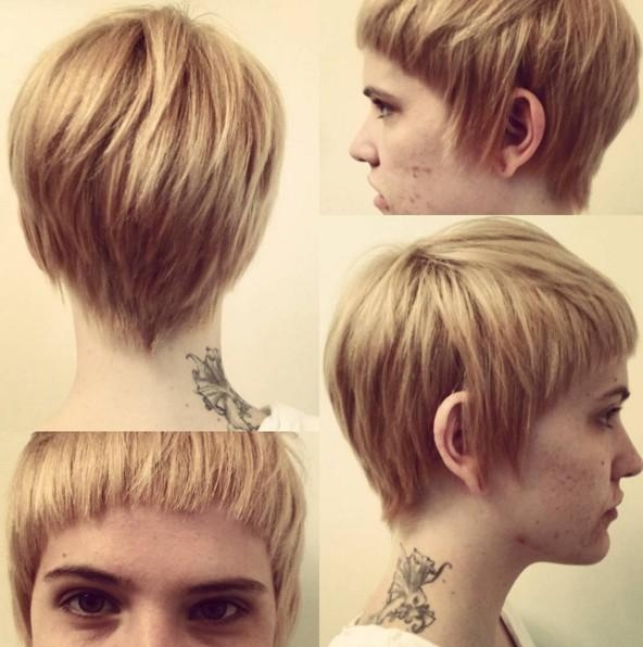 Trendy Fringe Pixie Haircuts With Regard To Pixie Haircut With Bangs – Blonde, Layered Hairstyle – Popular (View 18 of 20)